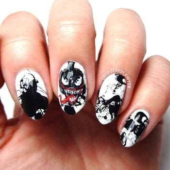 Comic Book Nail Art .  Free tutorial with pictures on how to paint a character nail in under 60 minutes using white nail polish, black paint, and white. How To posted by Lacquered Lawyer.  in the Beauty section Difficulty: 4/5. Cost: Cheap. Steps: 3