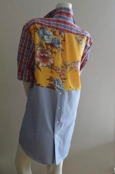 Make a mens shirt more femine and fun! .  Free tutorial with pictures on how to make a shirt in under 120 minutes by dressmaking with shirt, thread, and floral fabric. How To posted by Jessica Cramer.  in the Sewing section Difficulty: Simple. Cost: Absolutley free. Steps: 3