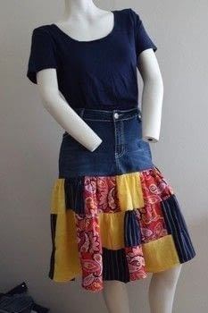 Easy to Sew .  Free tutorial with pictures on how to sew a denim skirt in under 180 minutes by sewing and dressmaking with blanket, jeans, and rotary cutter. How To posted by Jessica Cramer.  in the Sewing section Difficulty: Simple. Cost: No cost. Steps: 3