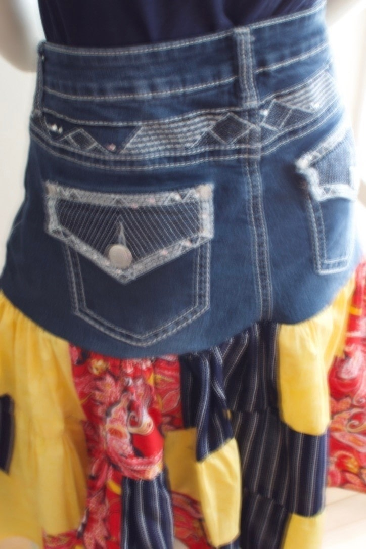 Make A Scrappy Denim Skirt With Cotton Prints 183 How To Sew
