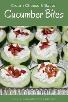 A Yummy Crisp appetizer with great Bacon Flavor .  Free tutorial with pictures on how to cook a cheese snack in under 30 minutes by cooking with cucumbers, cream cheese, and shredded cheese. Recipe posted by Andrea N.  in the Recipes section Difficulty: Simple. Cost: Cheap. Steps: 4