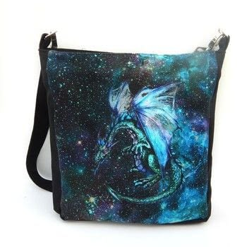 Dragon in Space .  Make an across body bag in under 120 minutes by machine sewing and sewing with canvas, feature fabric, and lining fabric. Inspired by dragon, space, and polka dot. Creation posted by Krisandra Slye.  in the Sewing section Difficulty: 3/5. Cost: 3/5.