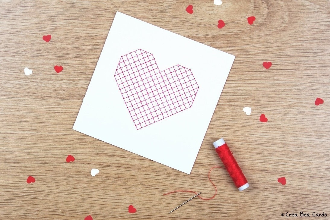sewn heart card · how to make a greetings card