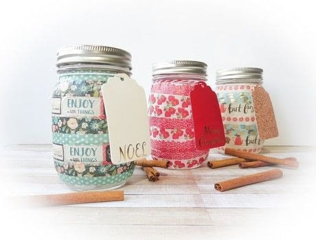Quick and simple, DIY Holiday Mason Jars .  Free tutorial with pictures on how to make a jar in under 25 minutes by decorating with scissors, washi tape, and mason jar. Inspired by christmas. How To posted by Pam R.  in the Decorating section Difficulty: Easy. Cost: Cheap. Steps: 3