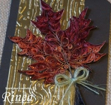 Create a lovely shimmery quilled maple leaf, the perfect reminder of the beauty that Autumn holds. .  Free tutorial with pictures on how to fold a piece of quilled art in 7 steps by papercrafting, cardmaking, quilling, and creating with rinea foiled papers, quilling tools, and cardstock. How To posted by Ink Stained Roni.  in the Papercraft section Difficulty: 3/5. Cost: 3/5.