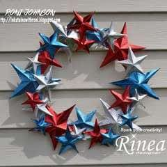 Patriotic 3 D Rinea Foiled Paper Star Wreath