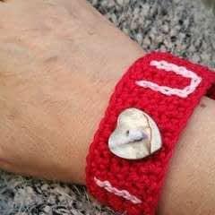 I Love U Crochet Bracelet
