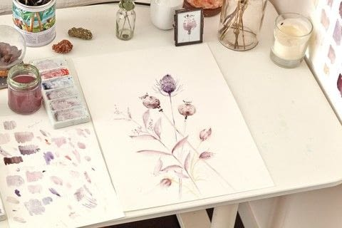 Watercolour Plant Art .  Free tutorial with pictures on how to paint a piece of watercolor art in under 60 minutes by creating with watercolour paper, pencil, and palette. Inspired by flowers. How To posted by Search Press.  in the Art section Difficulty: Simple. Cost: Cheap. Steps: 5