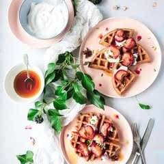 Buckwheat Waffles With Baked Plums
