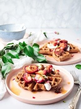 BuckWheat Waffles and Baked Plums .  Free tutorial with pictures on how to cook waffle in under 60 minutes by baking with almond milk, apple cider vinegar, and coconut oil. Recipe posted by natalie p.  in the Recipes section Difficulty: Simple. Cost: Cheap. Steps: 9