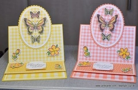 Create an easel card .  Free tutorial with pictures on how to make a greetings card in under 60 minutes by papercrafting and cardmaking with card. Inspired by butterflies. How To posted by Jan B.  in the Papercraft section Difficulty: Simple. Cost: 3/5. Steps: 1