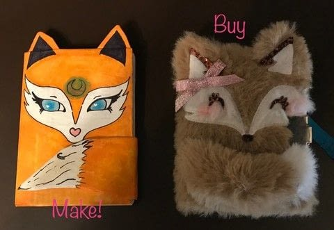 Buy vs make! Which do you think will win? .  Make a journal in under 90 minutes by creating, drawing, constructing, decorating, embellishing, papercrafting, collage, decoupaging, and paper folding with notebook, cardboard, and paper. Inspired by kawaii, foxes, and blue. Creation posted by Kinhime Dragon.  in the Decorating section Difficulty: Easy. Cost: No cost.