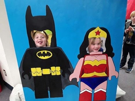 Super cute cutout photo board .  Paint a stencilled painting in under 180 minutes by creating, drawing, and stencilling with acrylic paint, paintbrushes, and paintbrushes. Inspired by comic books and lego. Creation posted by Lacie V.  in the Other section Difficulty: Simple. Cost: Cheap.