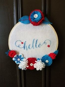 "Welcome Spring with a ""hello"" hoop for your front door! .  Free tutorial with pictures on how to make a framed decoration in under 120 minutes by stencilling and not sewing with felt, felt, and fabric glue. Inspired by crafts. How To posted by Debra Q.  in the Other section Difficulty: Easy. Cost: 3/5. Steps: 3"
