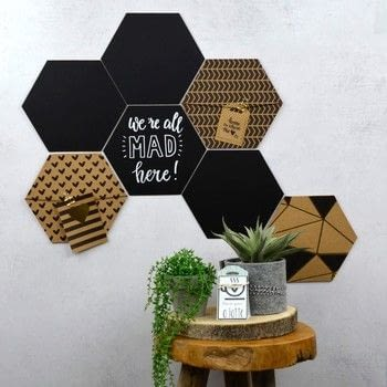 Hexagon wall decoration .  Free tutorial with pictures on how to make a hanging in 6 steps How To posted by Vaessen Creative.  in the Home + DIY section Difficulty: 3/5. Cost: Absolutley free.