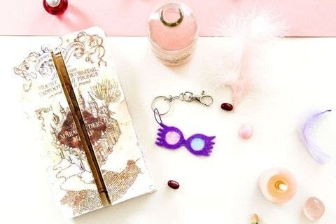 Luna Lovegood's glasses as a keyring ! .  Free tutorial with pictures on how to sew a fabric charm in under 30 minutes by sewing with light, glue, and scissors. Inspired by harry potter. How To posted by Manayin.  in the Home + DIY section Difficulty: Simple. Cost: Cheap. Steps: 6