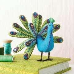 Embroidered Felt Peacock