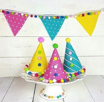 Polka Dot Party Hats  .  Free tutorial with pictures on how to make a party hat in under 60 minutes by not sewing with felt, pom pom trim, and fabric glue. How To posted by Debra Q.  in the Home + DIY section Difficulty: Easy. Cost: 3/5. Steps: 3