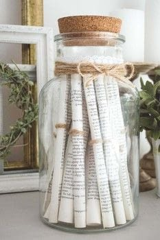 Repurpose your old books with this quick and easy vintage-style rolled paper jar. .  Free tutorial with pictures on how to make a decoration in under 20 minutes using lace, book, and double sided tape. Inspired by vintage & retro and homeware. How To posted by Temperance Rose.  in the Home + DIY section Difficulty: Easy. Cost: Absolutley free. Steps: 5