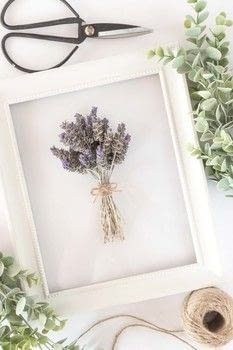 Use dried lavender to make this simple, rustic wall art in under 10 minutes! .  Free tutorial with pictures on how to make a framed decoration in under 10 minutes using frame, hot glue gun, and lavender. Inspired by flowers, plants, flowers & trees, and lavender. How To posted by Temperance Rose.  in the Home + DIY section Difficulty: Easy. Cost: Absolutley free. Steps: 5