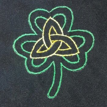 Futurama, clover trinity embroidered patches  .  Embroider art using fabric, needle, and embroidery hoop. Inspired by futurama and clovers. Creation posted by DeadGirl.  in the Needlework section Difficulty: 3/5. Cost: No cost.