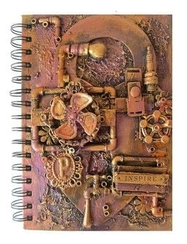 Steampunk Altered Notebook | Mixed Media Art | Using Old and New Embellishments .  Free tutorial with pictures on how to decorate an altered journal in under 60 minutes by creating and embellishing with notebook, gesso, and texture paste. Inspired by steampunk. How To posted by Keren .  in the Art section Difficulty: 3/5. Cost: Cheap. Steps: 1