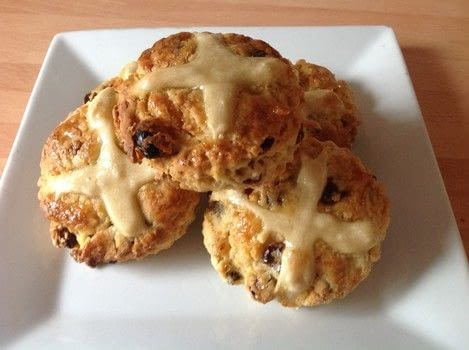Hot cross scones .  Free tutorial with pictures on how to cook a baked treat in under 30 minutes by cooking and baking with self-raising flour, butter, and brown sugar. Recipe posted by Super Madcow.  in the Recipes section Difficulty: Easy. Cost: Cheap. Steps: 9