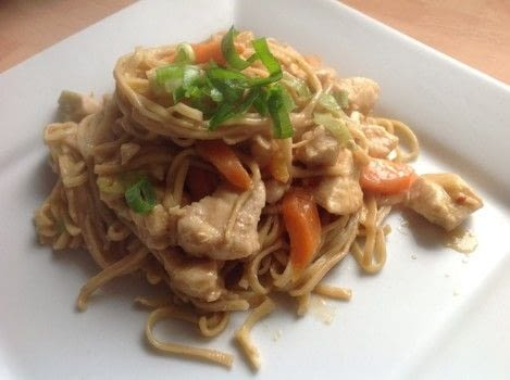 Thai Peanut Noodles. .  Free tutorial with pictures on how to cook a chicken dish in under 40 minutes by cooking with noodles, chicken stock, and peanut butter. Recipe posted by Super Madcow.  in the Recipes section Difficulty: Easy. Cost: Cheap. Steps: 7