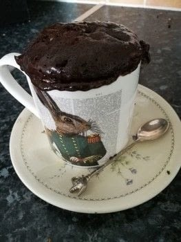 A moist and fluffy version of the standard chocolate mug cake .  Free tutorial with pictures on how to bake a chocolate cake in under 10 minutes by cooking and baking with vegetable oil, egg, and milk. Inspired by chocolate. Recipe posted by Libby W.  in the Recipes section Difficulty: Easy. Cost: Cheap. Steps: 6