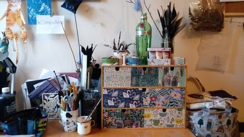 Update plain wooden storage into something much more appealing with pretty papers .  Free tutorial with pictures on how to make a decoupage box in under 120 minutes using drawers, decorative paper, and pva glue. How To posted by Helen W.  in the Decorating section Difficulty: Easy. Cost: Cheap. Steps: 6