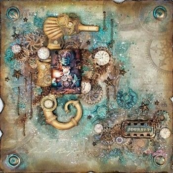 Steampunk style layout .  Free tutorial with pictures on how to make a piece of assemblage art in under 180 minutes by papercrafting, scrapbooking, stencilling, and creating with eyelets, chains, and gesso. How To posted by Nuneka .  in the Art section Difficulty: 3/5. Cost: No cost. Steps: 5