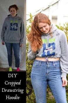 Upcycle an oversized hoodie with a cropped drawstring waist .  Free tutorial with pictures on how to make a hoodie in under 60 minutes using hoodie, tailor's chalk, and ruler. Inspired by style and clothes & accessories. How To posted by Carmen B.  in the Sewing section Difficulty: Easy. Cost: Cheap. Steps: 7