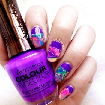 Neon Drip Marble .  Free tutorial with pictures on how to paint a marbled nail in under 60 minutes using scissors, nail art brush, and purple nail polish. How To posted by Lacquered Lawyer.  in the Beauty section Difficulty: Simple. Cost: No cost. Steps: 3