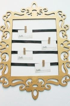 Make your own place card holder. .  Free tutorial with pictures on how to make a framed decoration in under 20 minutes by woodworking with wooden frame, paintbrush, and metallic gold paint. Inspired by weddings. How To posted by City_Shaysha.  in the Home + DIY section Difficulty: Easy. Cost: Cheap. Steps: 9