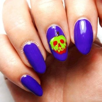 Poison Apple Nail Art .  Free tutorial with pictures on how to paint a nail painting in under 60 minutes using acrylic paint, clear coat, and nail art brush. How To posted by Lacquered Lawyer.  in the Beauty section Difficulty: 4/5. Cost: Absolutley free. Steps: 2