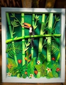 MAKING A FOREST SCENE – TOUCAN BIRD ON BAMBOO TREE .  Free tutorial with pictures on how to cut a piece of papercutting in under 120 minutes Inspired by birds and black forest. How To posted by Gitanjali M.  in the Other section Difficulty: Easy. Cost: No cost. Steps: 20