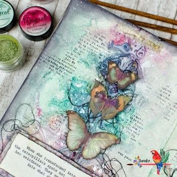 Art Journal page with a fantasy dreamy style .  Free tutorial with pictures on how to make a mixed media in under 90 minutes by papercrafting, collage, scrapbooking, and stamping with gesso, thread, and soft matte gel. How To posted by Nuneka .  in the Art section Difficulty: Simple. Cost: No cost. Steps: 4