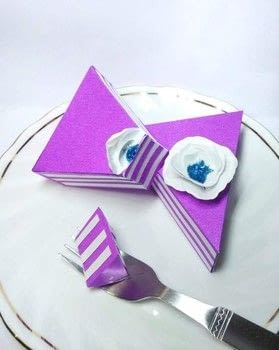 HOW TO MAKE PAPER CAKE SLICE .  Free tutorial with pictures on how to make a shaped box in under 180 minutes Inspired by crafts and cake. How To posted by Gitanjali M.  in the Other section Difficulty: Easy. Cost: No cost. Steps: 19