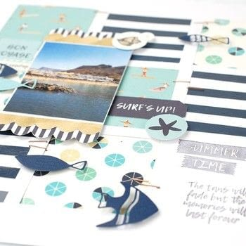 Summer splash layout .  Free tutorial with pictures on how to make a piece of paper art in 6 steps Inspired by summer holidays. How To posted by Vaessen Creative.  in the Papercraft section Difficulty: Simple. Cost: Absolutley free.