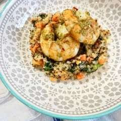 Jumbo Pesto Shrimp With Superfood Pilaf