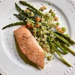 "Brown Sugar And Ginger Salmon With Tahini Fried ""Rice"""