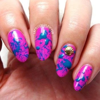 Splash Into Summer .  Free tutorial with pictures on how to paint a splatter nail manicure in under 60 minutes using clear coat, fuchsia nail polish, and teal nail polish. How To posted by Lacquered Lawyer.  in the Beauty section Difficulty: Easy. Cost: Cheap. Steps: 3
