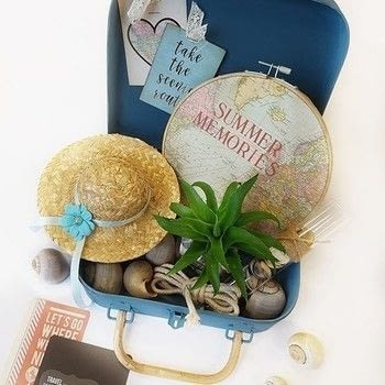 Suitcase with summer memories .  Free tutorial with pictures on how to make a techniques in 11 steps How To posted by Vaessen Creative.  in the Art section Difficulty: 3/5. Cost: Absolutley free.