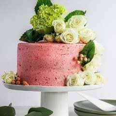 Strawberry Basil Cake With Strawberry Buttercream