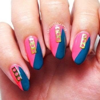 Geometric Neon Nail Art .  Free tutorial with pictures on how to paint a nail painting in under 60 minutes using clear coat, pink nail polish, and teal nail polish. How To posted by Lacquered Lawyer.  in the Beauty section Difficulty: Easy. Cost: Cheap. Steps: 3