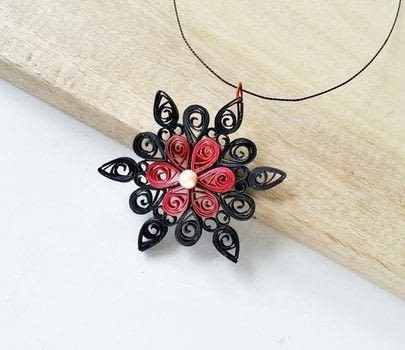 Paper Quilling Craft .  Free tutorial with pictures on how to make a pendant necklace in under 30 minutes by jewelrymaking and papercrafting with scissors, white glue, and jump ring. Inspired by flowers. How To posted by Muhaiminah Faiz.  in the Jewelry section Difficulty: Simple. Cost: Absolutley free. Steps: 8