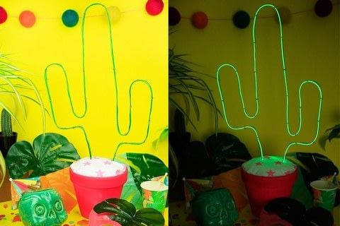 Add some kitsch fun to your home with this cute light .  Free tutorial with pictures on how to make a decorative light in 10 steps by decorating with fabric, scissors, and spray paint. Inspired by cactus. How To posted by DiY Blonde.  in the Home + DIY section Difficulty: 3/5. Cost: 3/5.