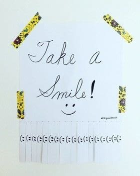 """""""Take a Smile"""" tearout flier .  Free tutorial with pictures on how to make a poster in under 15 minutes using scissors, cardstock, and markers. How To posted by Jen from Craftic.  in the Papercraft section Difficulty: Easy. Cost: No cost. Steps: 4"""