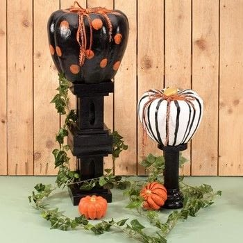 Pumpkin on pillar .  Free tutorial with pictures on how to make a Halloween decoration in 9 steps How To posted by Vaessen Creative.  in the Other section Difficulty: Easy. Cost: Cheap.