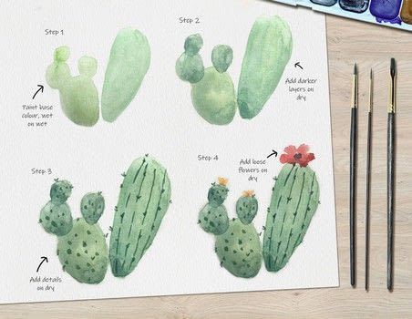 .  Free tutorial with pictures on how to paint a piece of watercolor art in under 30 minutes by creating with watercolor, watercolour brush, and watercolor paper. Inspired by cactus and plants. How To posted by Ladybug Watercolour.  in the Art section Difficulty: 3/5. Cost: Cheap. Steps: 4
